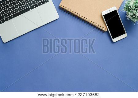 Office Desk Working Space - Flat Lay Top View Mockup Photo Of Working Space With Laptop, Smartphone