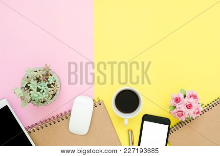 Office Desk Working Space - Flat Lay Top View Of Working Space With Blank Notebook Page, Coffee Cup
