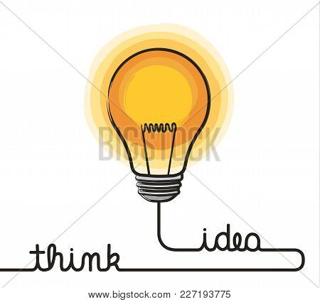 Idea Concept. Lightbulb And Wire Forming Text Think And Idea. Vector.