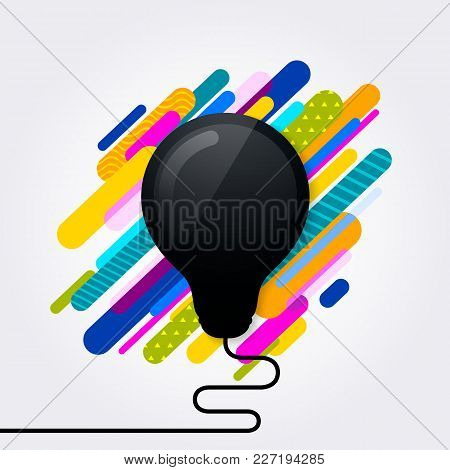 Black Light Bulb Icon. Idea Concept. Absctract Geometric Background. Vector.