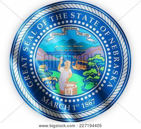 Us State Nebraska Seal Textured Proud Country Waving Flag Close