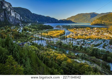 View Of Squamish Town In British Columbia, Canada. Canadian Mecca Of Rock Climbing. Town Of Mt. Chie