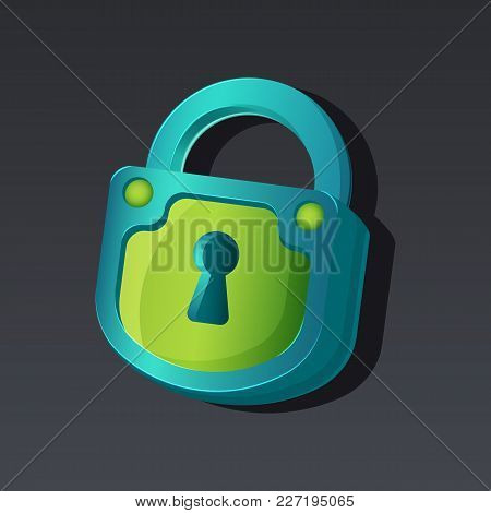 Game Icon Of Padlock In Cartoon Style. Bright Design For App User Interface. Lock For Surprise, Hidd