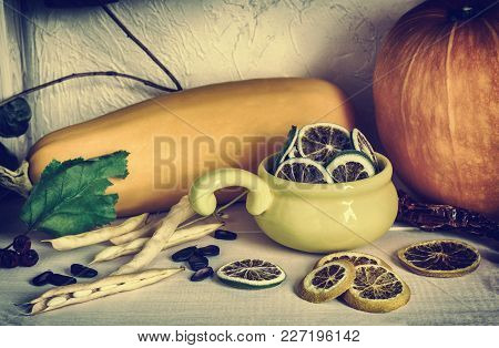 Assorted Dried Fruits, Pumpkin Vegetables And Zucchini Close-up On White Background, Healthy Food, R