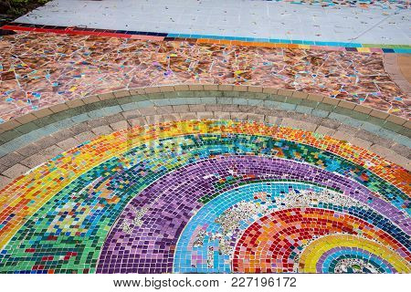 Broken Ceramic And Ceramic Tile Decorative On Wall And Place In Temple, Mosaic And Texture, Thailand