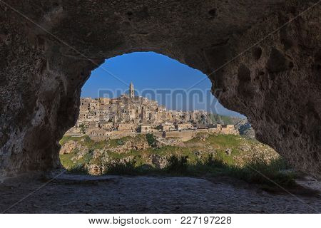 Matera Village. Unesco World Heritage Site . View From The Cave