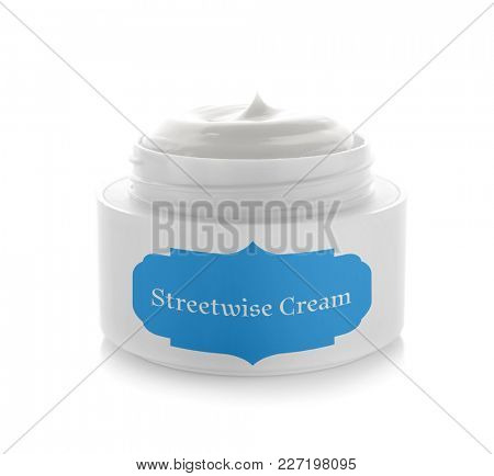 Jar with streetwise body cream on white background