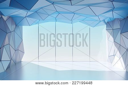 Abstract Polygonal Futuristic Hall With Window, Geometric Architecture. 3d Illustration