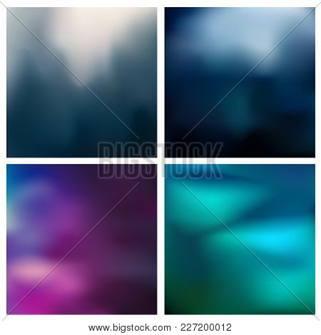 Abstract Vector Multicolored Blurred Background Set. 4 Colors Set. Square Blurred Pink Backgrounds S