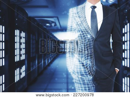 Abstract Unrecognizable Polygonal Businessman On Server Room Background With Copy Space. Robotics An