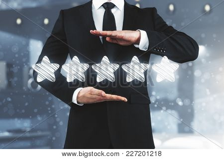 Businessman Rating Hotel On Blurry Interior Background. Performance And Status Concept. 3d Rendering