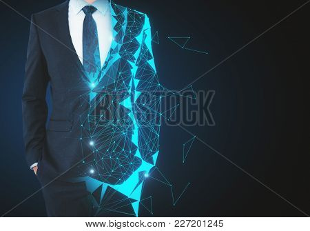 Abstract Unrecognizable Polygonal Businessman On Dark Background With Copy Space. Robotics And Futur