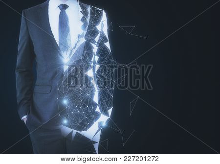 Abstract Unrecognizable Polygonal Businessman On Dark Background With Copy Space. Robotics And Innov