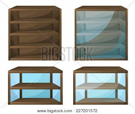 Set Of 4 Cabinets For Shops Or House. Furniture Vector Illustration