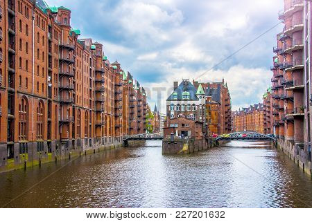 Water castle building in hamburg hafen city germany