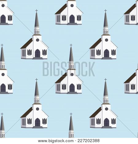 Cathedral Church Temple Traditional Building Seamless Pattern. Architecture Of Modern Urban Chapel.