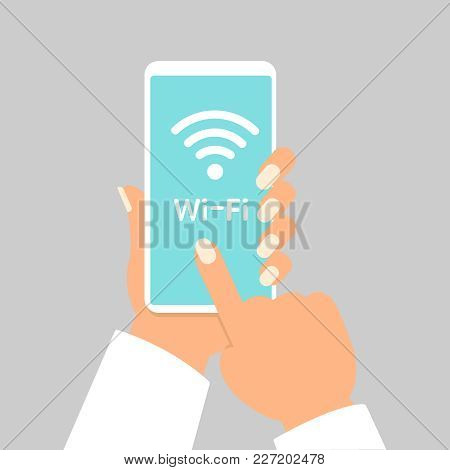 Hand Holding Smartphone With Wifi Wireless Connection Business Concept Isolated Illustration Eps10