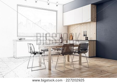 Creative Modern Kitchen Interior Sketch. Design And Architecture Concept. 3d Renddering