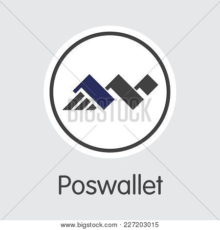 Poswallet - Coin Symbol Of Fintech Industry, Finance Digitization. Modern Coin Illustration. Premium