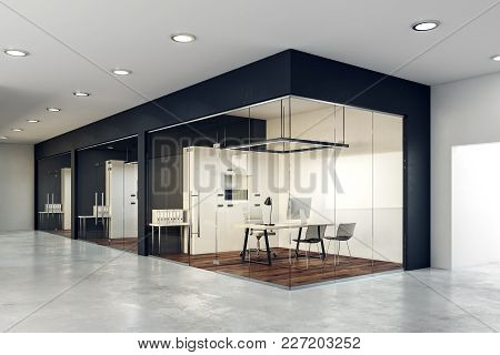 Contemporary Glass Office Interior. Design And Style Concept. 3d Rendering