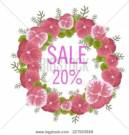 Sale Concept Background. Word Sale Made Of Flowers Of Viola. Bright Sale Banner In Vector. The Happy