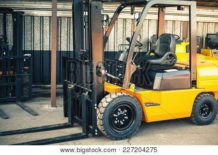 Closeup Reliable Heavy Loader, Truck. Heavy Duty Equipment Background
