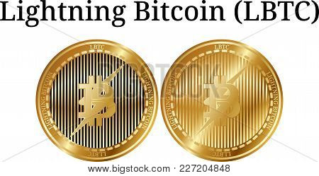 Set Of Physical Golden Coin Lightning Bitcoin , Digital Cryptocurrency. Lightning Bitcoin Icon Set.