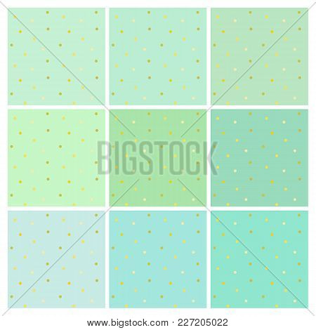 Set Of Vector Seamless Backgrounds With Small Round Shiny Golden Dots. A Collection Of Endless Simpl