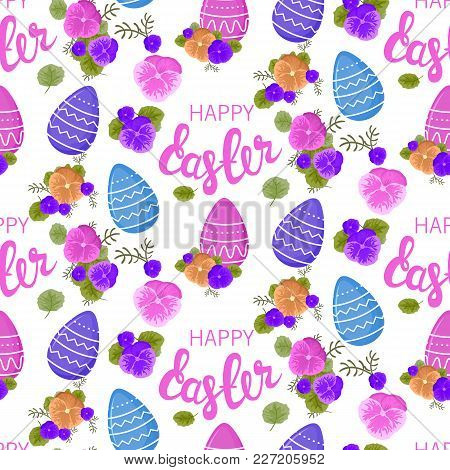 Easter Pattern. Seamless Pattern With Easter Motifs And Viola Flowers. Vector Pattern For Greeting C