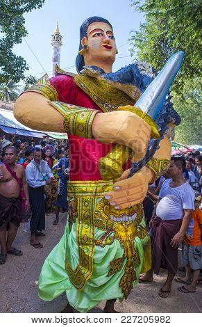 Bagan , Myanmar - Sep 04 2017: Participants In A Local Village Festival In A Village Near Bagan Myan