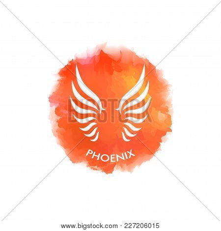 Wings Of The Phoenix Up On A Fire Spot Imitating Watercolor, As A Template For A Logo, Emblem, Poste