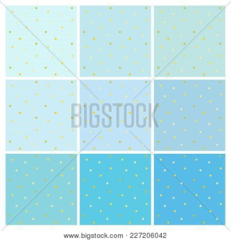 Set Of Vector Seamless Light Blue Backgrounds With Small Shiny Golden Dots. A Collection Of Endless