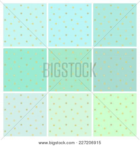 Set Of Vector Seamless Backgrounds With Small Shiny Gold Stars. Endless Simple Patterns In Shades Of