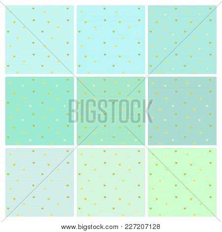 Collection Of Vector Seamless Light Blue Backgrounds With Shiny Small Golden Hearts. Endless Simple