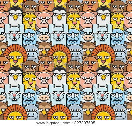 Pattern With Different Animals In Flat Style