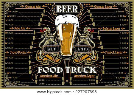 Beer Food Truck Menu With Logo. Hipster Advertise Layout With German French American Stout Porter Pa