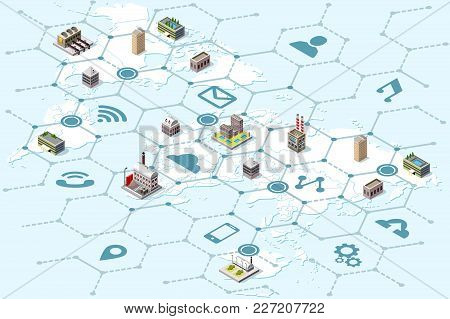 Global Business Trade Network And International Logistics Strategy. Isometric Map With Factory And L
