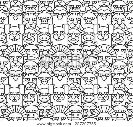 Pattern With Different Animals, Thin Line Style, Flat Design