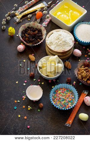 Ingredients For Easter Baking - Eggs, Nuts, Flour, Yeast, Butter, Raisins, Sugar And Willow Branches