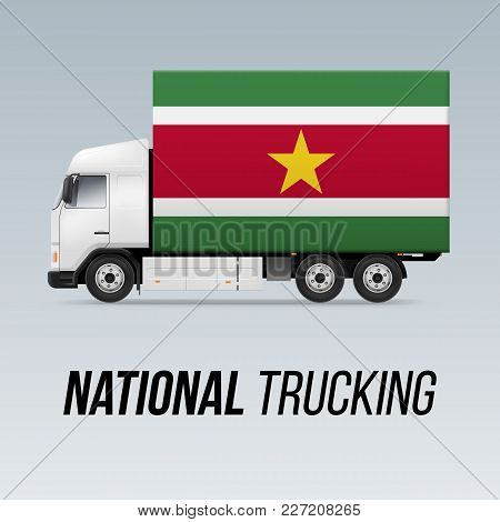 Symbol Of National Delivery Truck With Flag Of Suriname. National Trucking Icon And Surinamese Flag