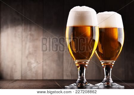 Composition With Two Glasses Of Lager Beer