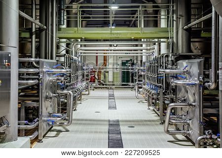 Pipeline And Valve System In Brewery For Distribution And Transportation Of Ingredients.