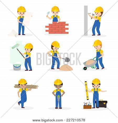 Builder Vector Cartoon Character Constructor Building Construction For Newbuild Illustration Worker
