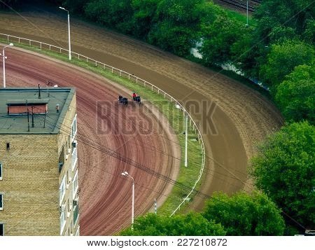 Moscow, Russia - June 1, 2017: Aerial View To Central Moscow Hippodrome Racecourse On June 1, 2017 I