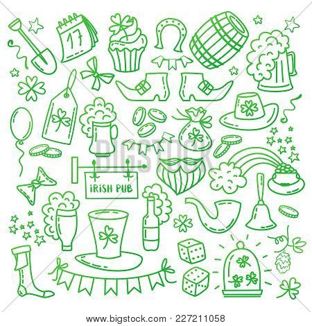 Irish Saint Patrick S Day Icons And Elements Isolated On White Background. Traditional Hand Drawn Ir