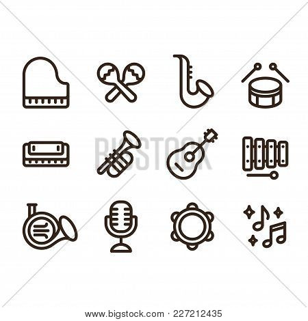 Jazz Music Instruments Icons Set. Modern And Simple Musical Line Icons, Vector Illustration Collecti