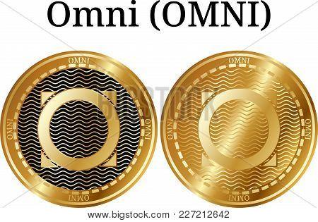 Set Of Physical Golden Coin Omni (omni), Digital Cryptocurrency. Omni (omni) Icon Set. Vector Illust