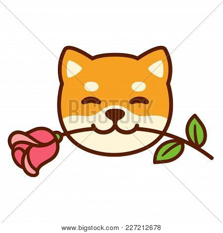 Funny Cartoon Shiba Inu Dog Holding Rose In Mouth. Cute Valentines Day Greeting Card.