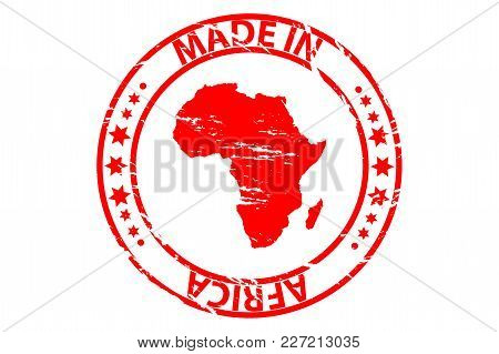 Made In Africa - Rubber Stamp - Vector - Africa Continent Map Pattern - Red