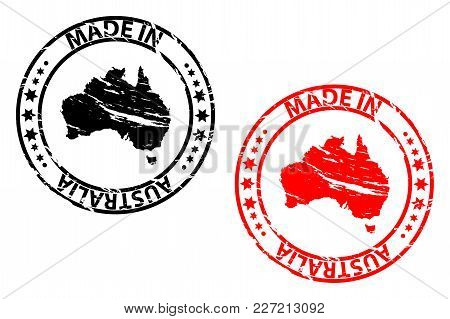 Made In Australia - Rubber Stamp - Vector - Australia Continent Map Pattern - Black And Red